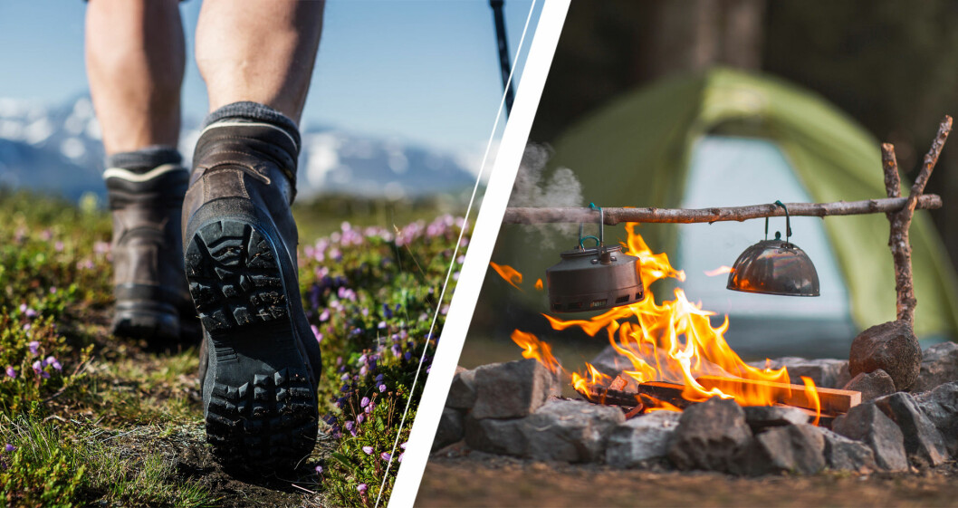 Vandrande fötter och eld vid tält.
