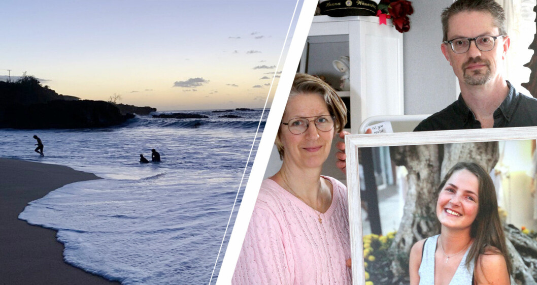 Sara och Marcus Wänerskog med ett vackert porträtt av dottern Hanna som försvann i vågorna på Hawaii.