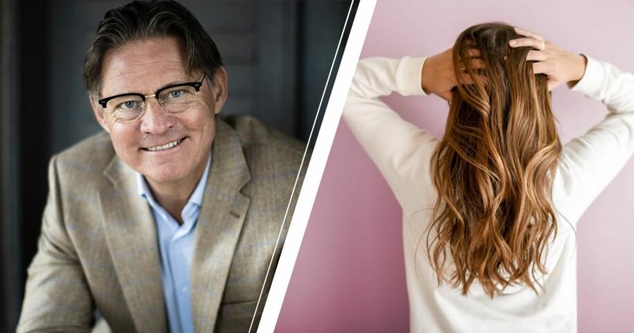 Mikael Sandström och en kvinna som håller i sitt hår