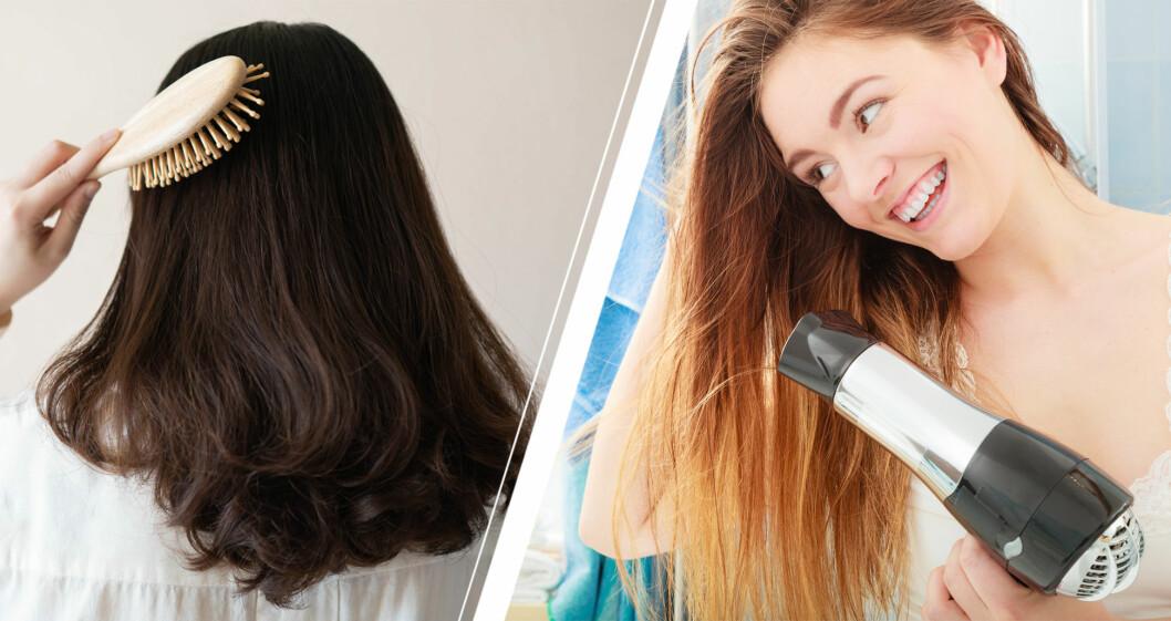 Kvinna som borstar håret och torkar med hårtork.