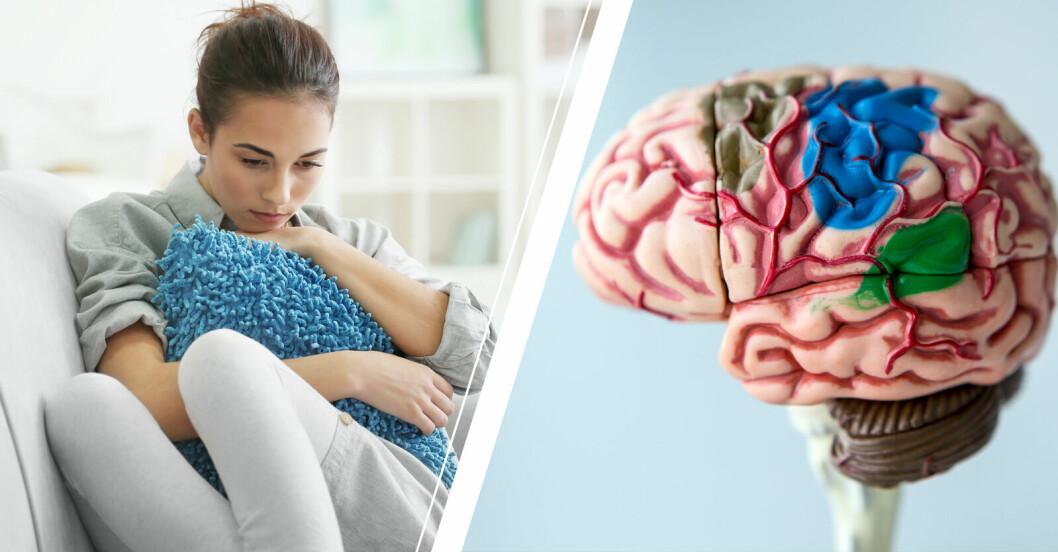 Deprimerad kvinna och en illustration av en hjärna.