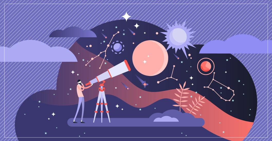 illustration av man som tittar på stjärnorna, horoskop