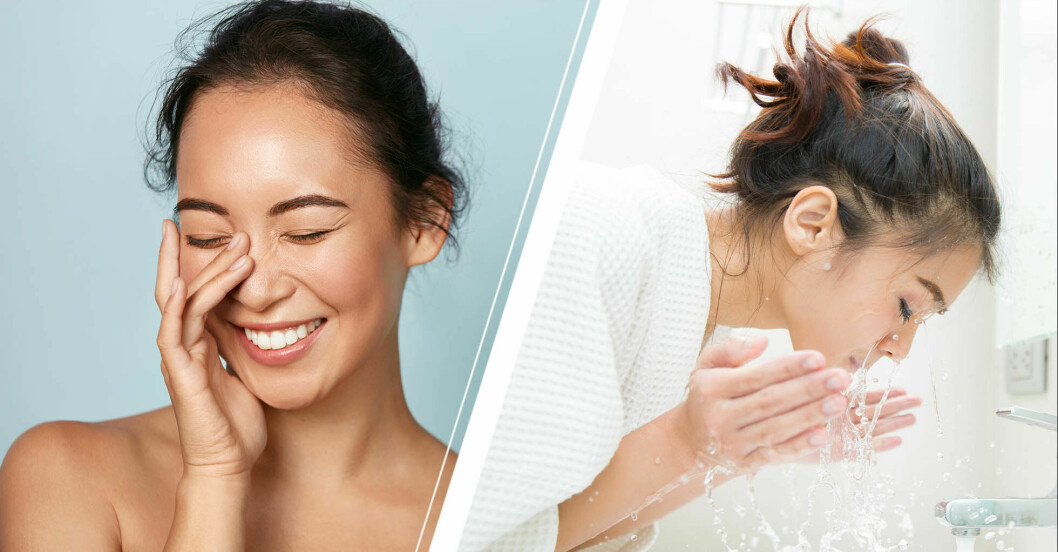kvinna tvättar ansiktet med tvål, som får huden att åldras i förtid