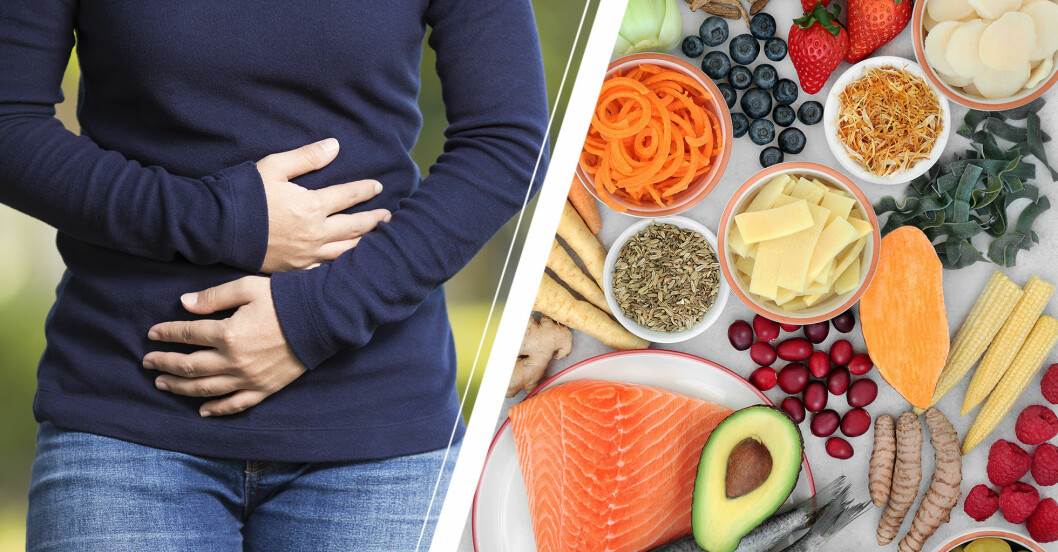 Person som håller sig om magen vid IBS och bredvid olika frukter.