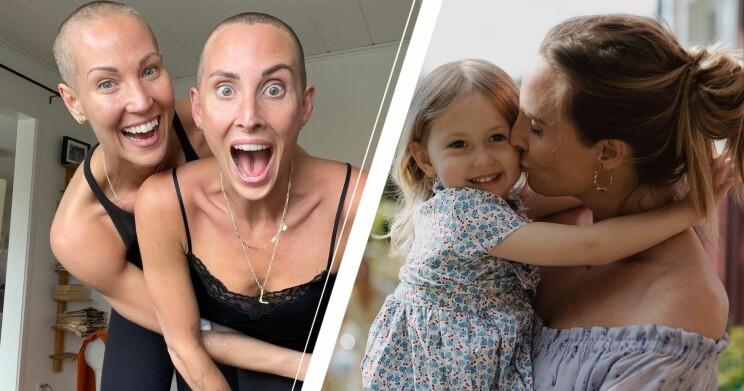 Elin Kjos och Ida Kjos när de precis rakat av håret, och en bild på Ida med dottern Lykke