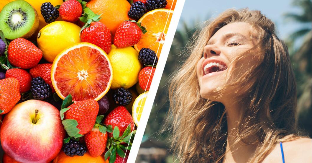 frukter och bär och en glad kvinna