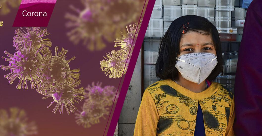 Coronaviruset och en indisk flicka med munskydd.