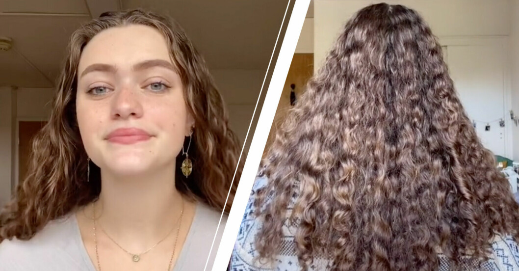 TikTok-profilen Emma som visar upp sitt otvättade hår.