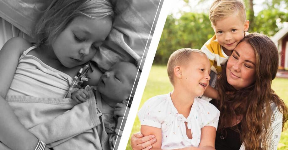 Till vänster Isabelle med nyfödda Billy och till höger mamma Angelica med Isabelle och andra sonen Leon.