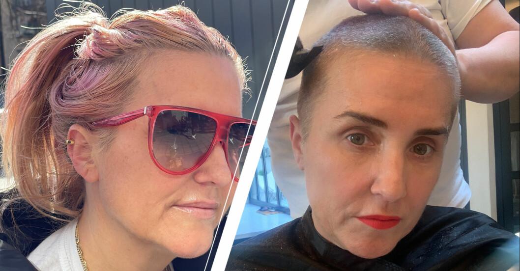 Till höger: Isabelle Monfrini innan sin behandling. Till vänster: Isabelle Monfrini under sin behandling då hon just rakat av sig håret.