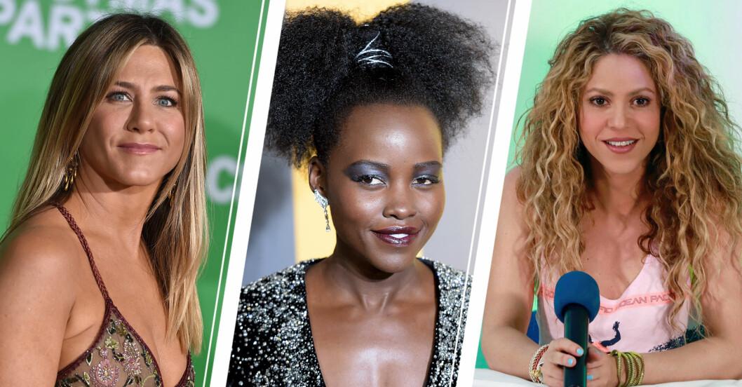 Jenniefer Aniston, Lupita Nyongo och Shakira – tre olika hårtyper.