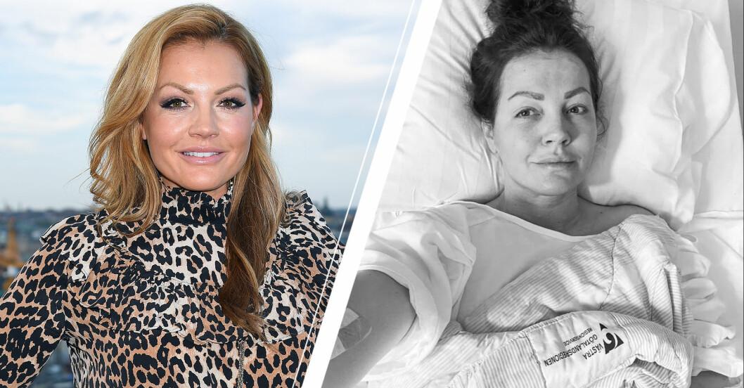 Vänster: Johanna Toftby i klänning. Höger: Johanna Toftby apå sjukhus.