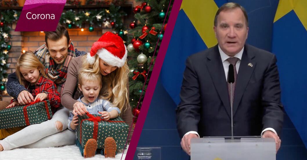 familj som firar jul och statsminister Stefan Löfven