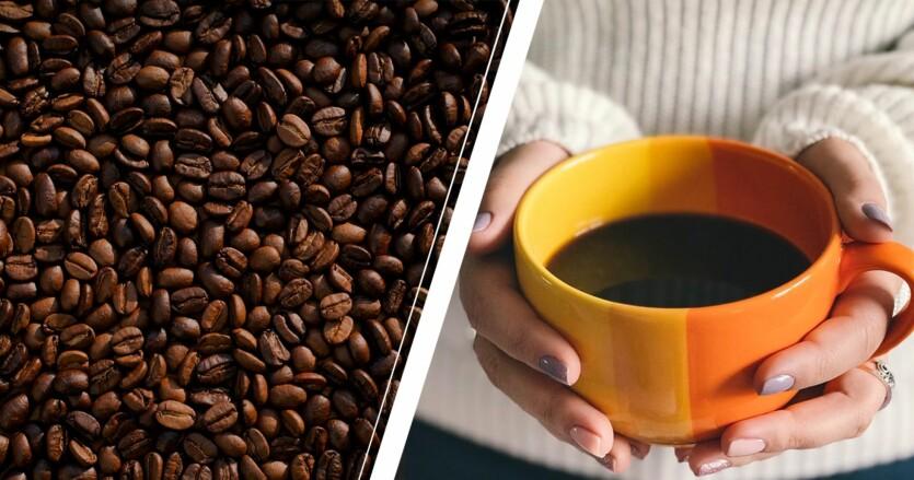 kaffebönor och en kvinna som håller i svart kaffe