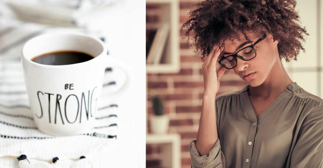 Kaffe/Kvinna som har ont i huvudet.