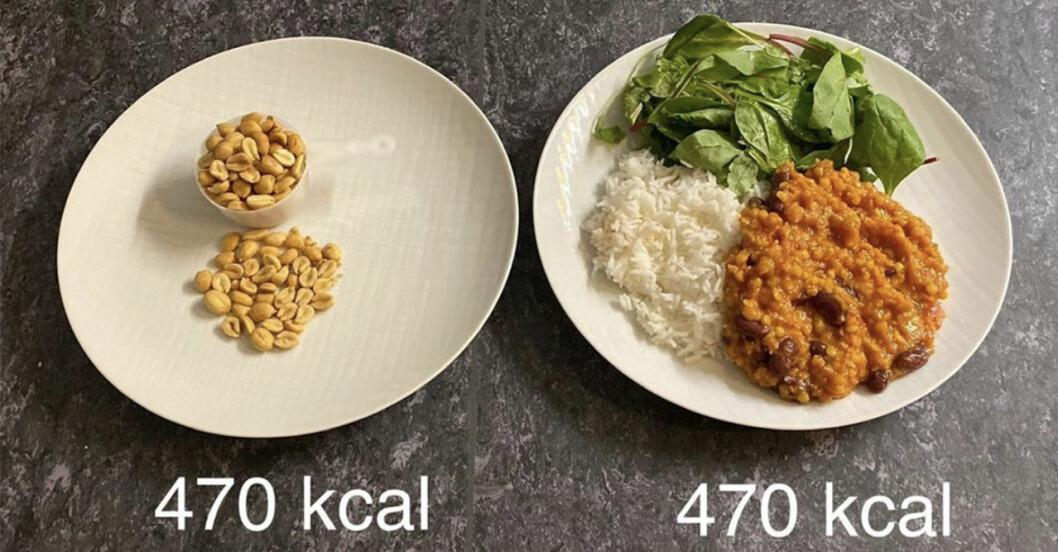 Kaloriinnehåll i mat och nötter.