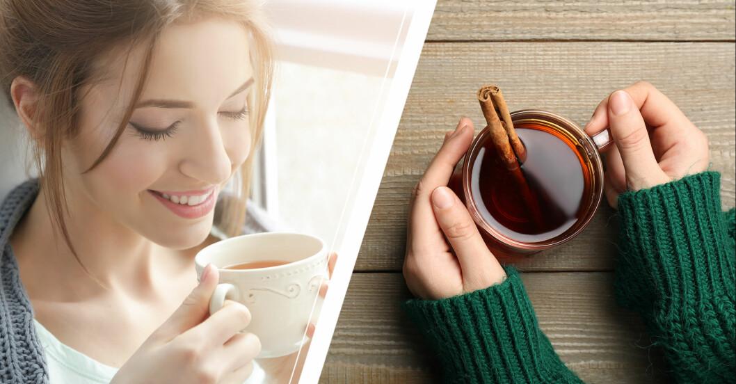 Kvinna som dricker en kopp med varmt kanelvatten.
