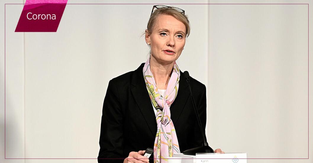 Karin Tegmark håller presskonferens om coronaläget