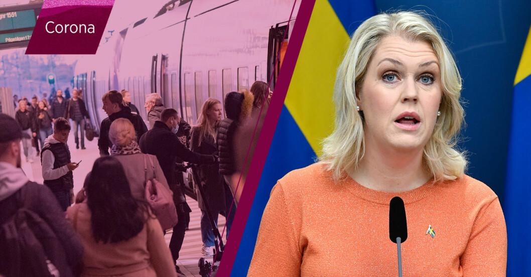 Kollektivtrafik och Lena Hallengren, socialminister.