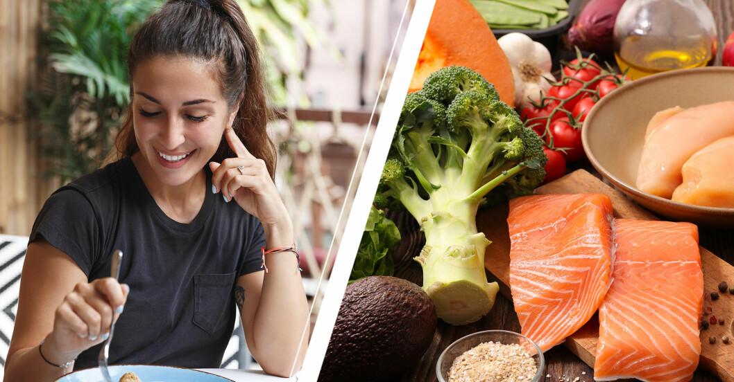 Kvinna som äter och olika livsmedel på ett bord.