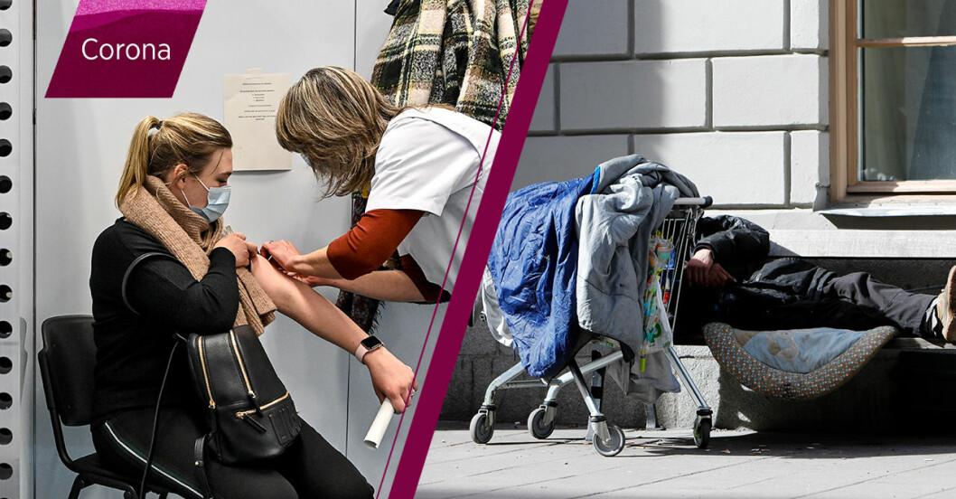 Kvinna blir vaccinerad samt en bild på en uteliggare.