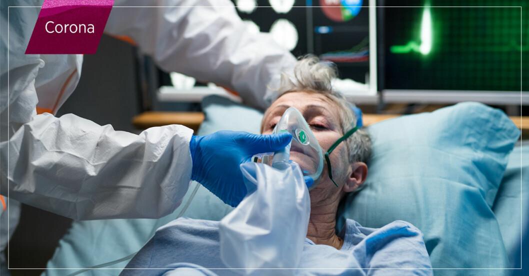 Kvinna får intensivvård för covid-19.