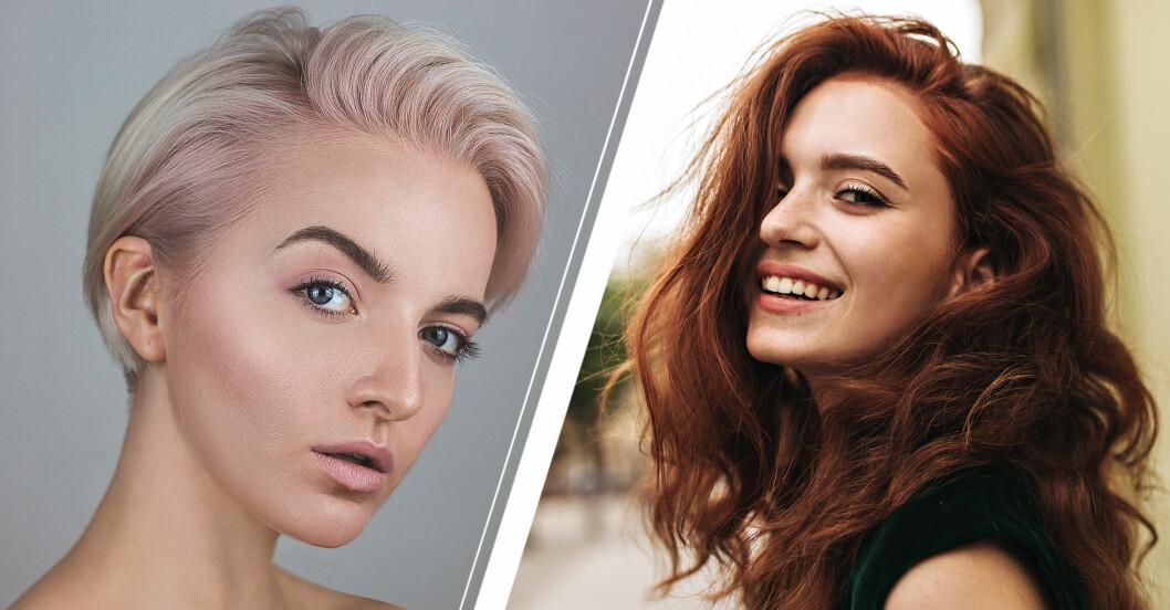Kvinna med platinablont hår med lavender nyanser och kvinna med fylligt rött hår och lockar.