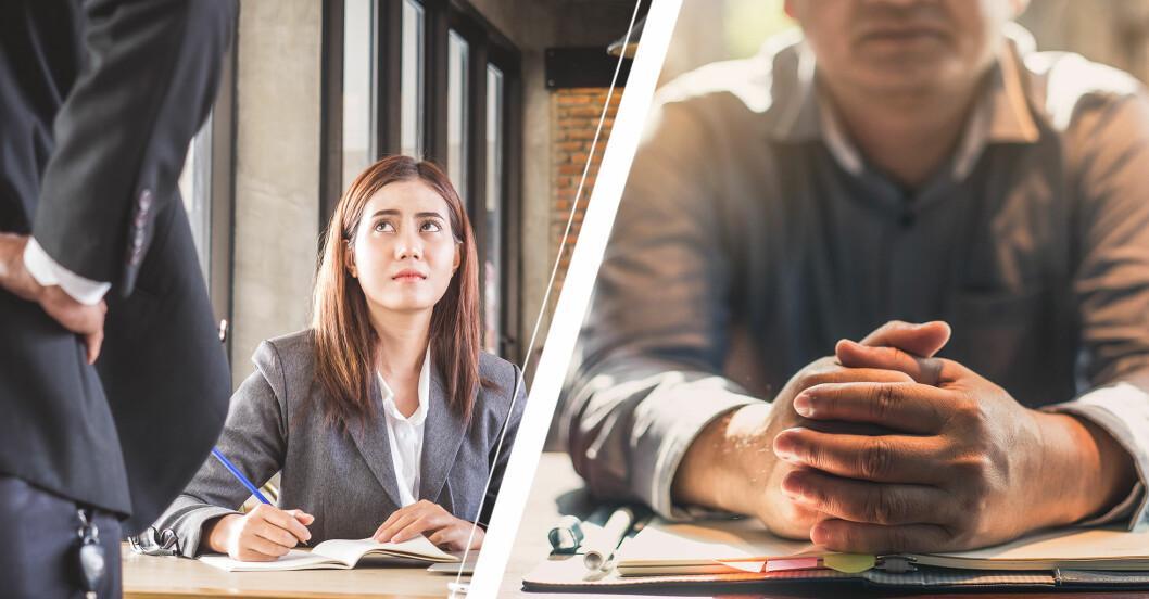 Kvinna sitter i arbetsmiljö och tittar upp på en man med kostym samt närbild på en mans händer.