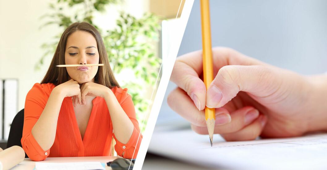 Kvinna sitter vid ett skrivbord och har lagt en näsa under näsan samt en hand som skriver ett test.