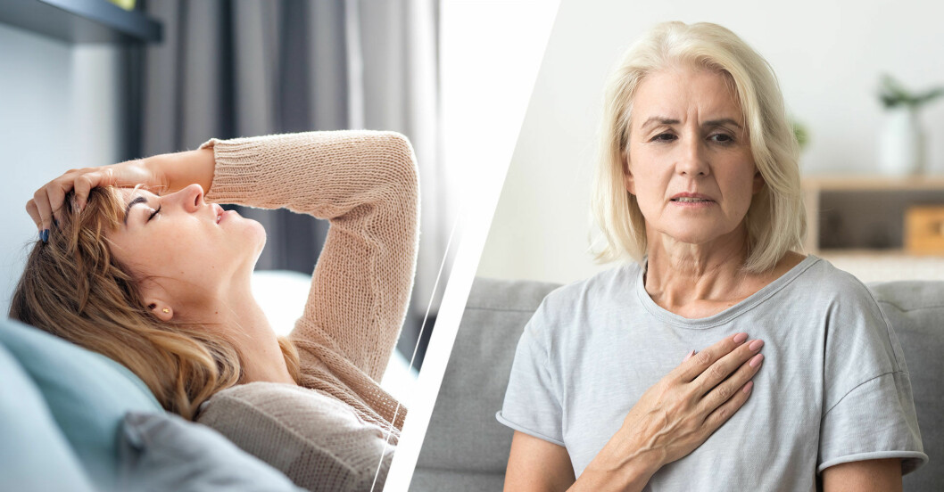 Kvinna sover på soffa och annan kvinna tar sig för hjärtat och ser oroad ut.