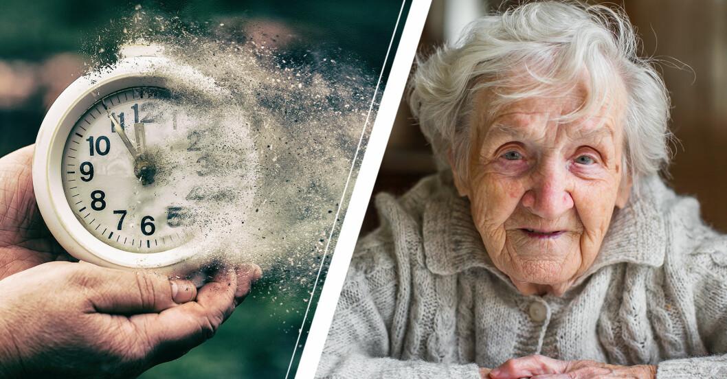 En klocka som illustrerar att tiden rinner ut och en glad äldre kvinna.