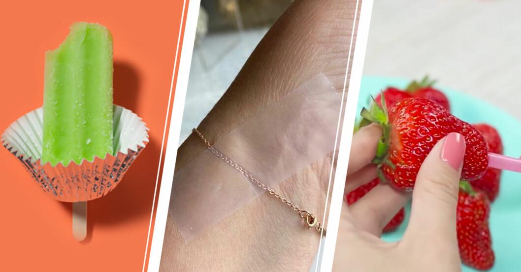 Vänster: Isglass. Mitten: Armband. Höger: Jordgubbe med sugrör.