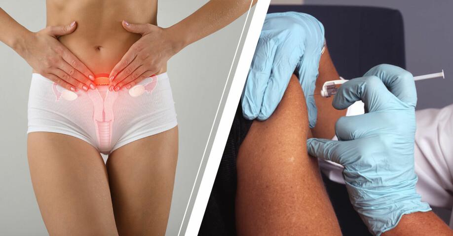 kvinna som håller för livmodern och person som får vaccin