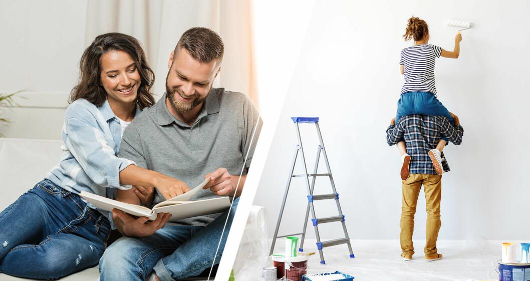 Man och kvinna kollar i fotoalbum och målar om
