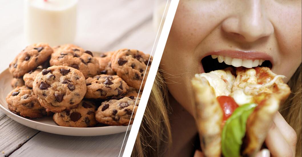 fat med kakor och kvinna som äter pizza