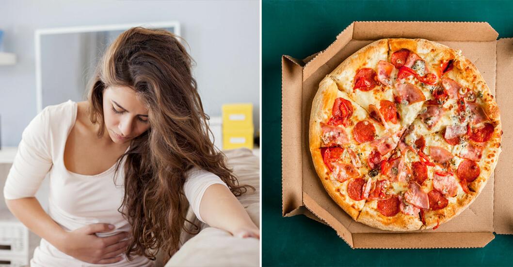 magsjuk kvinna och en pizza i kartong