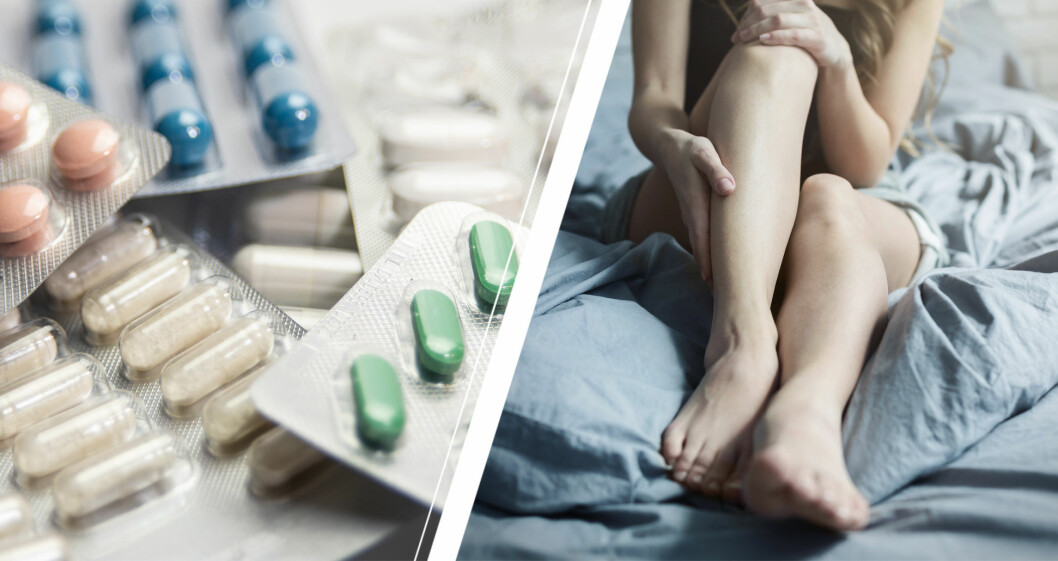 Läkemedel och kvinna med blodpropp i benet.