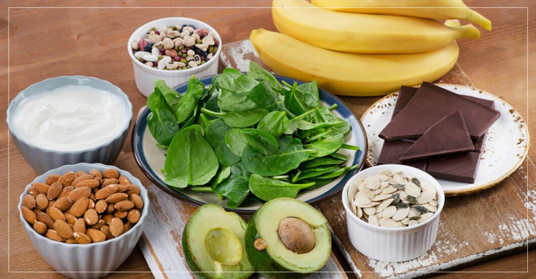 Mat med mineraler: Spenat, banan, avokado, mandlar med med.