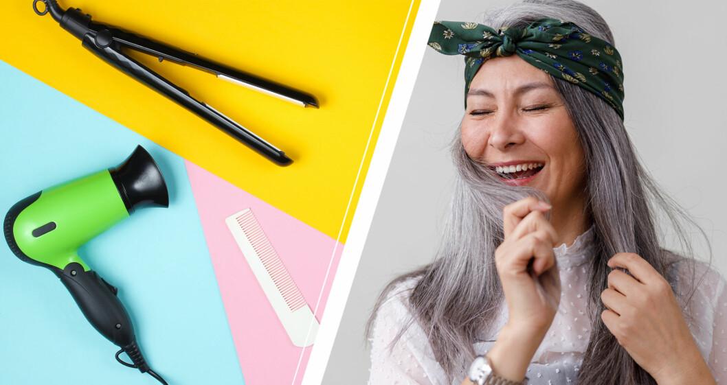 Kvinna som älskar sitt gråa hår, och olika hårverktyg.