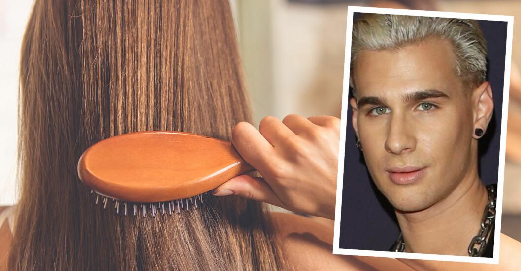 Kvinna som borstar håret och Brad Mondo, hårstylist