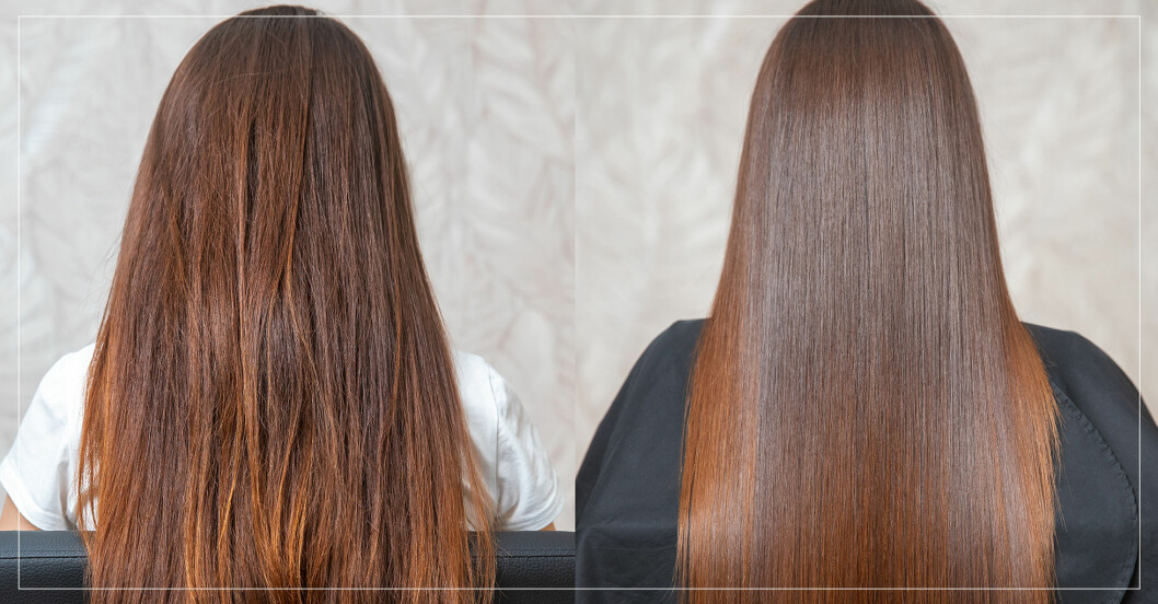 kvinna med långt hår i två olika frisyrer