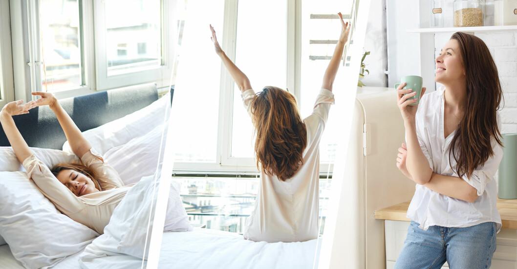 kvinna börjar morgonen på bästa sätt
