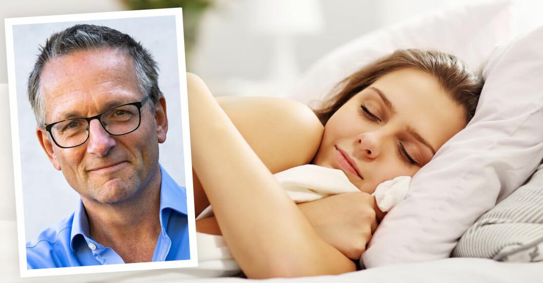 Bild på gråhårig man infälld i bild på ung kvinna som sover bland vita lakan