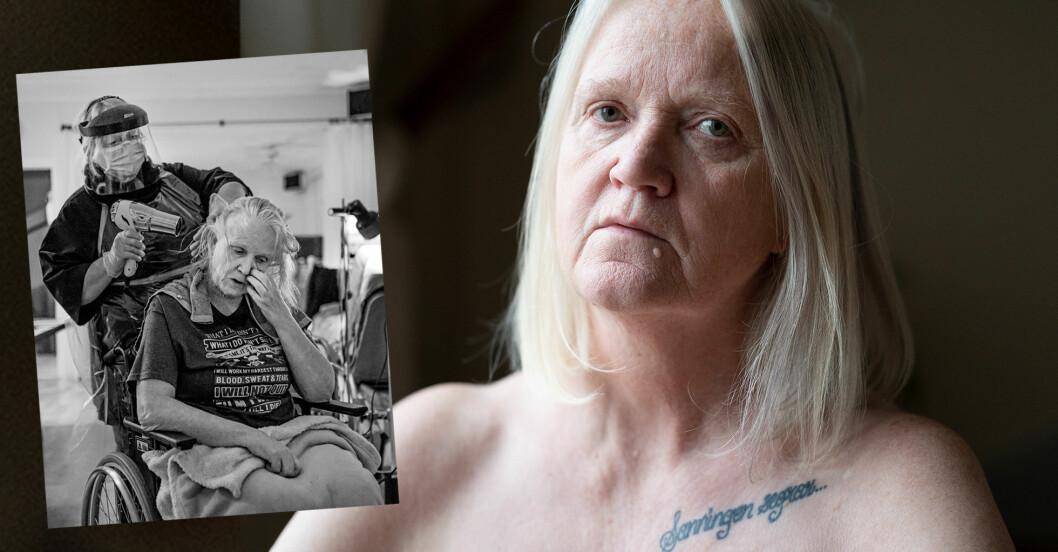 Närbild på Annelie som tittar in i kameran samt Annelie i rullstol som får hjälp av hemvård att föna året.