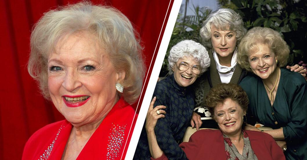 Närbild på Betty White på röda mattan samt gruppfoto på alla kvinnorna i The Golden Girls.