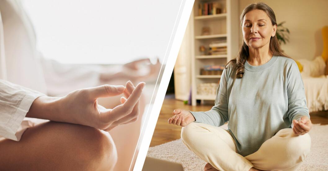 Närbild på en hand under meditation samt en äldre kvinna som sitter i vardagsrummet och mediterar.