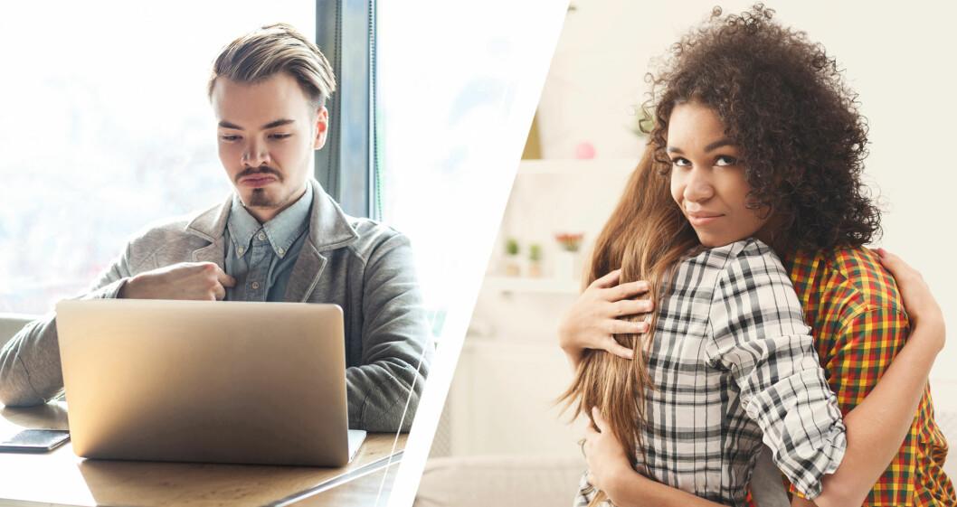 Narcissistisk man vid dator och narcissistisk kvinna som kramas.