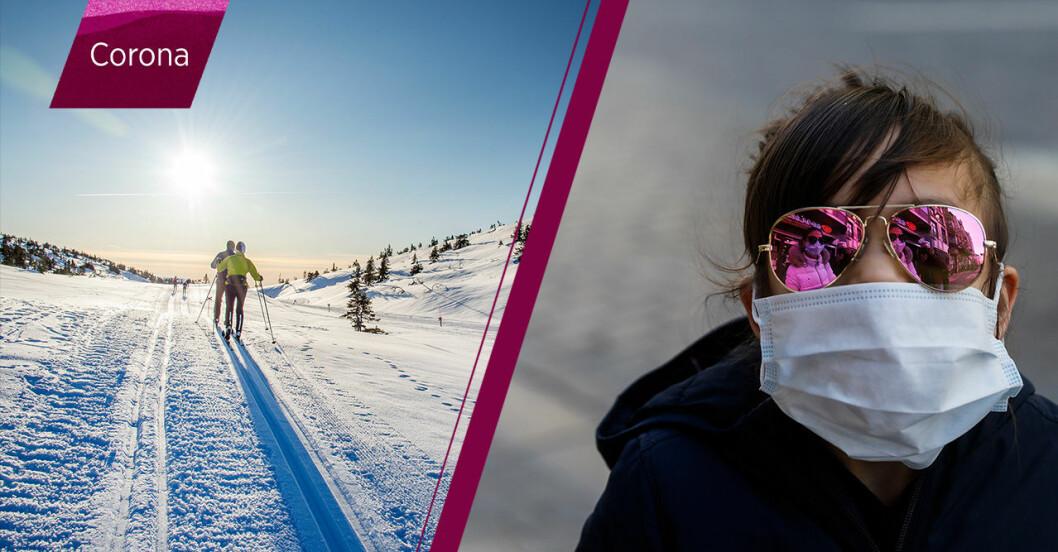svenska fjällen/kvinna med munskydd.