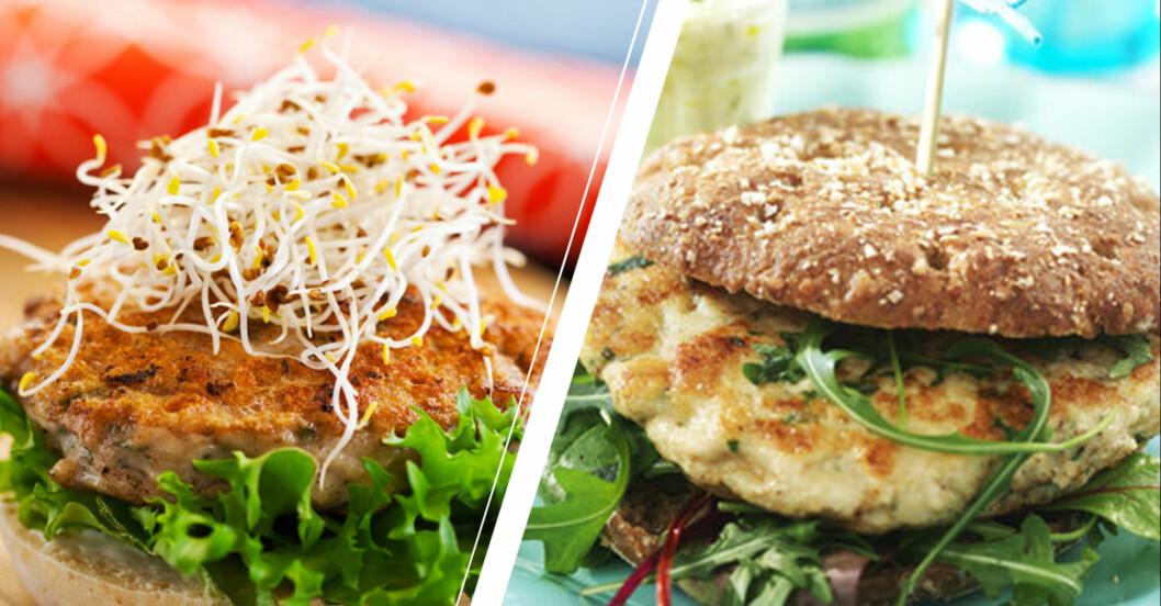 Nyttiga hamburgare gjorda på kyckling och fisk