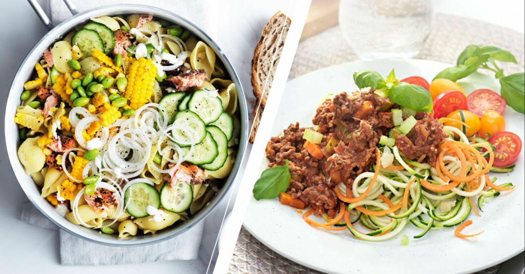 Pasta med lax och köttfärssås med grönsaker